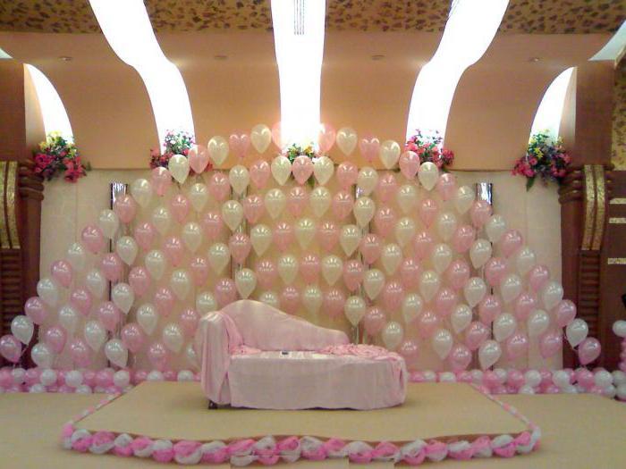украшение зала на свадьбу шарами фото
