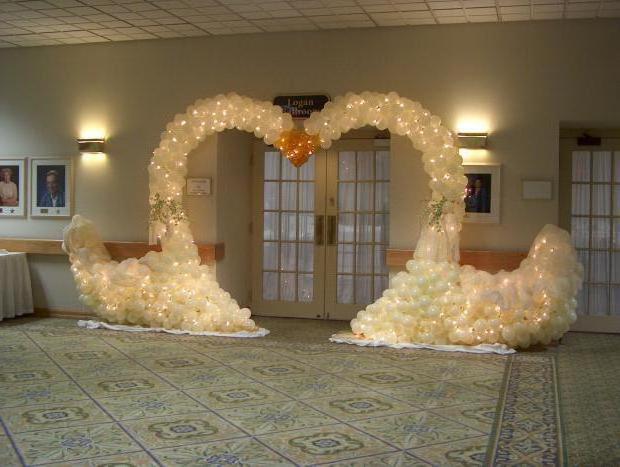 украшение зала шарами на свадьбу недорого