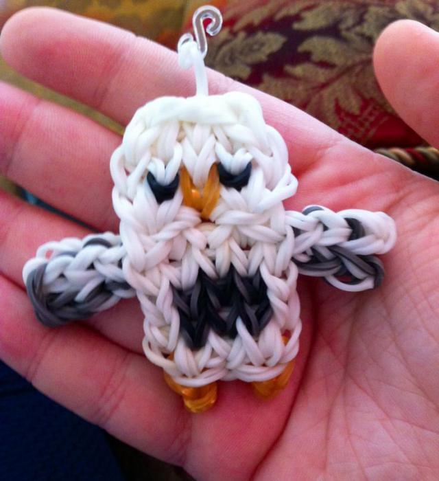 плетение совы из резинок