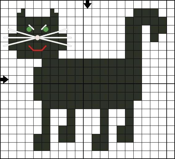 схема вышивки крестом черный кот