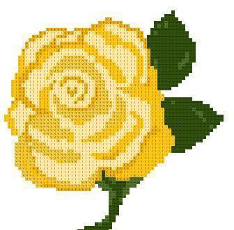 Роза желтая схема вышивки крестом