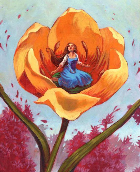 Рисунок дюймовочки в цветке
