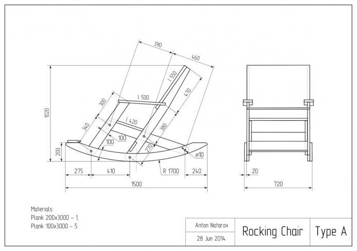 Кресло-качалка чертежи из фанеры чертежи