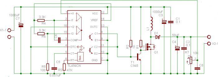 tl494cn схема преобразователя