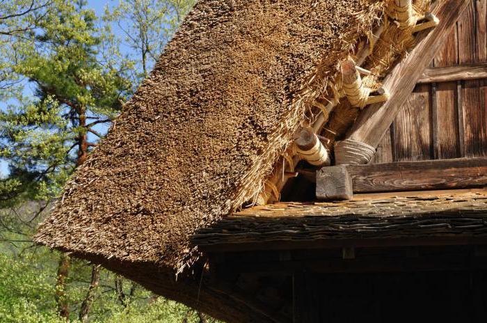 домики с соломенной крышей