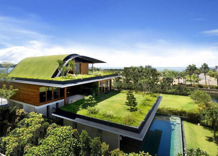 фасад дома с зеленой крышей