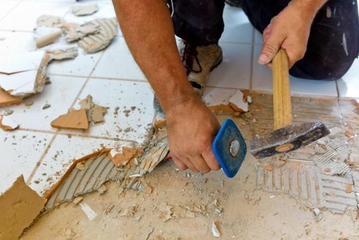 демонтаж напольной плитки