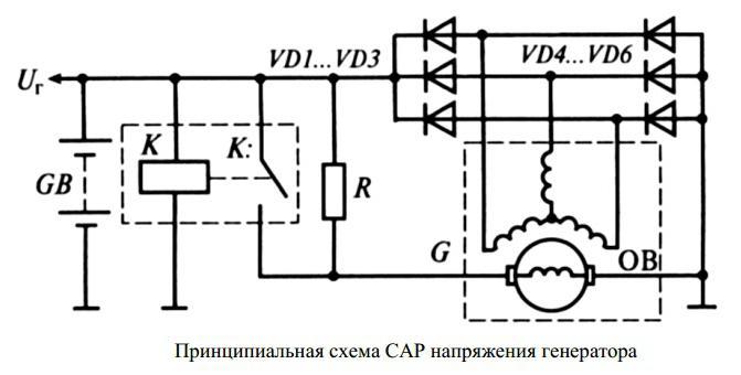 реле регулятор напряжения генератора схема