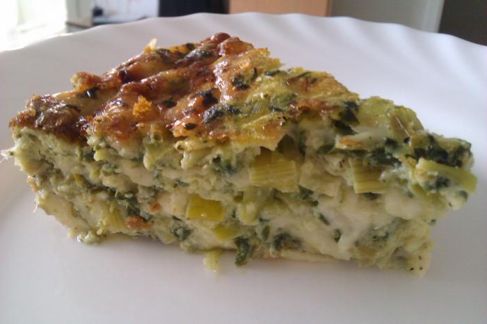 Весенний пирог с яйцом и зеленым луком