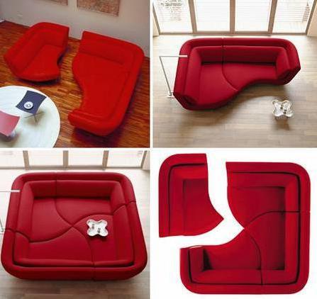 Модульный диван в интерьере гостиной