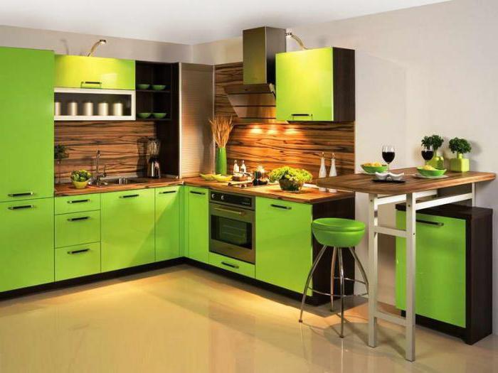 Угловые кухни цвета лайм
