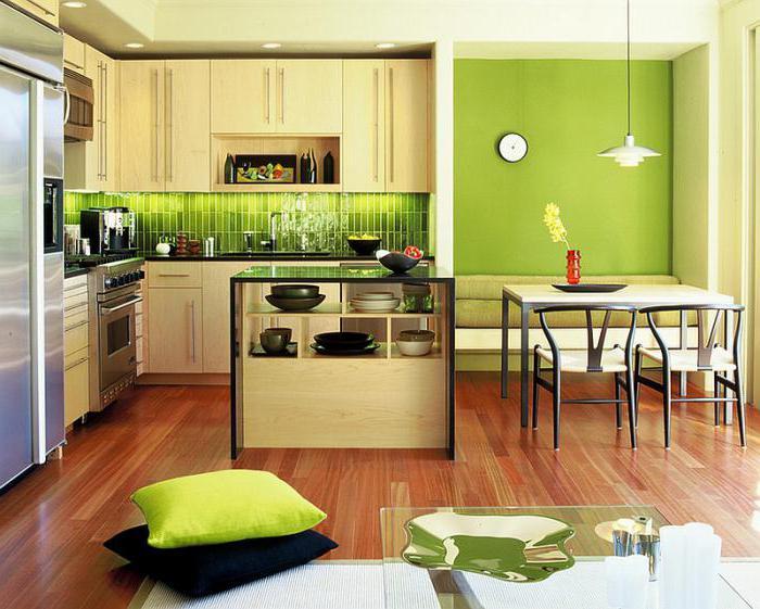 Дизайн кухни цвета лайма