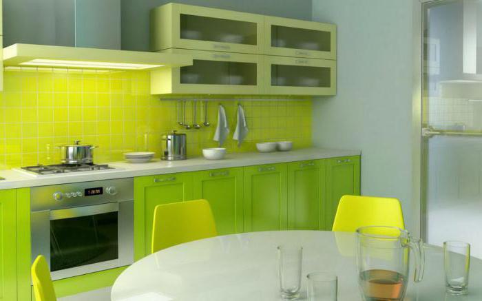 Кухня цвета лайм в интерьере