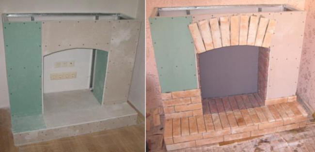 Портал под камин из гипсокартона