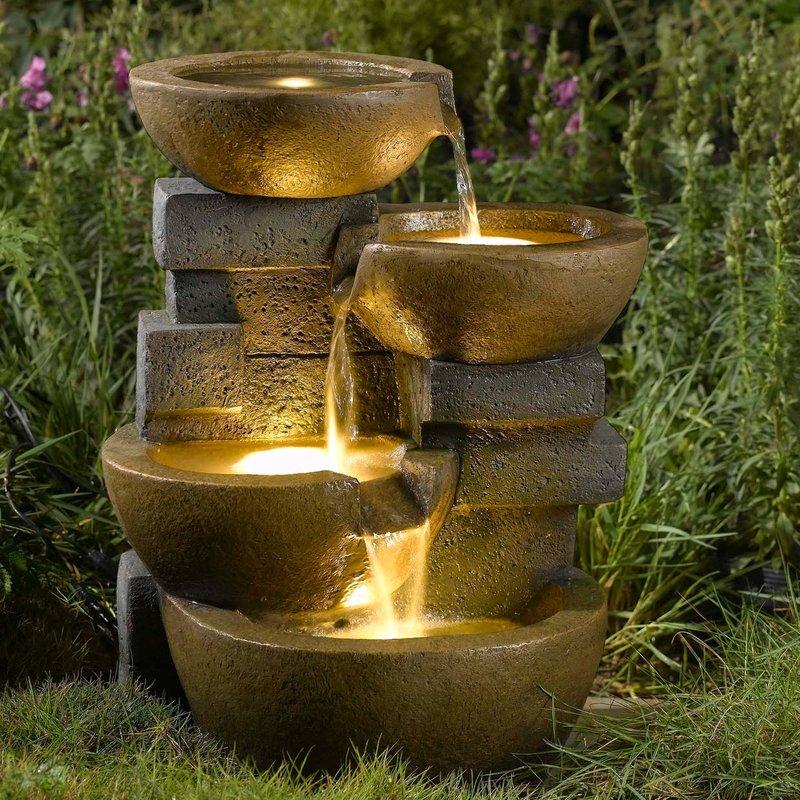 Illuminated fountain for a summer residence