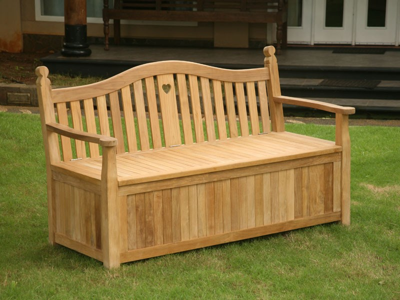 Wooden bench with a box