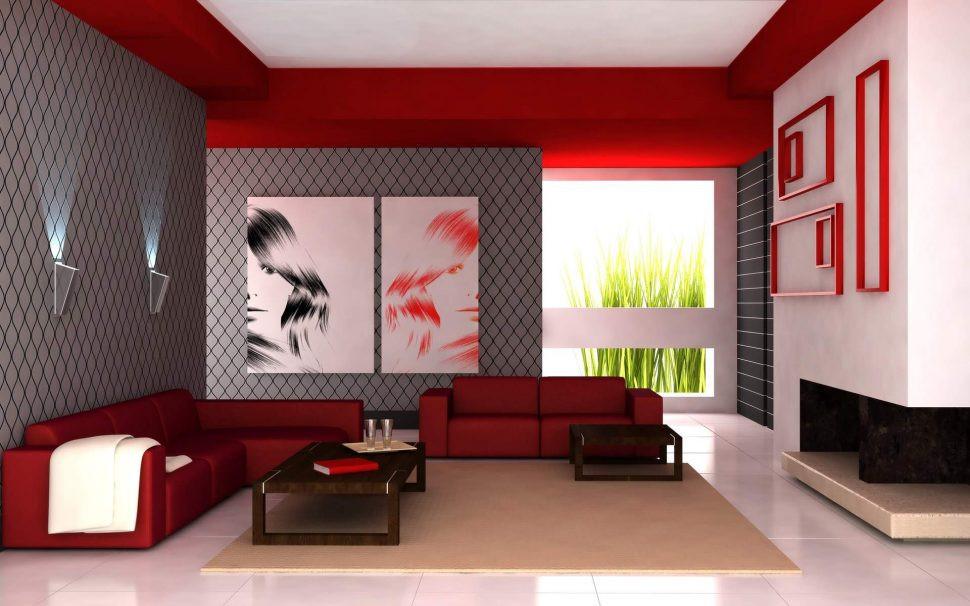 Interior red color photo