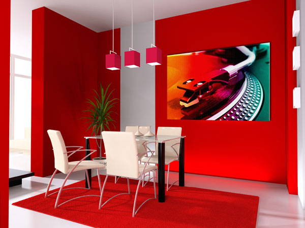 Red color in the interior of the kitchen