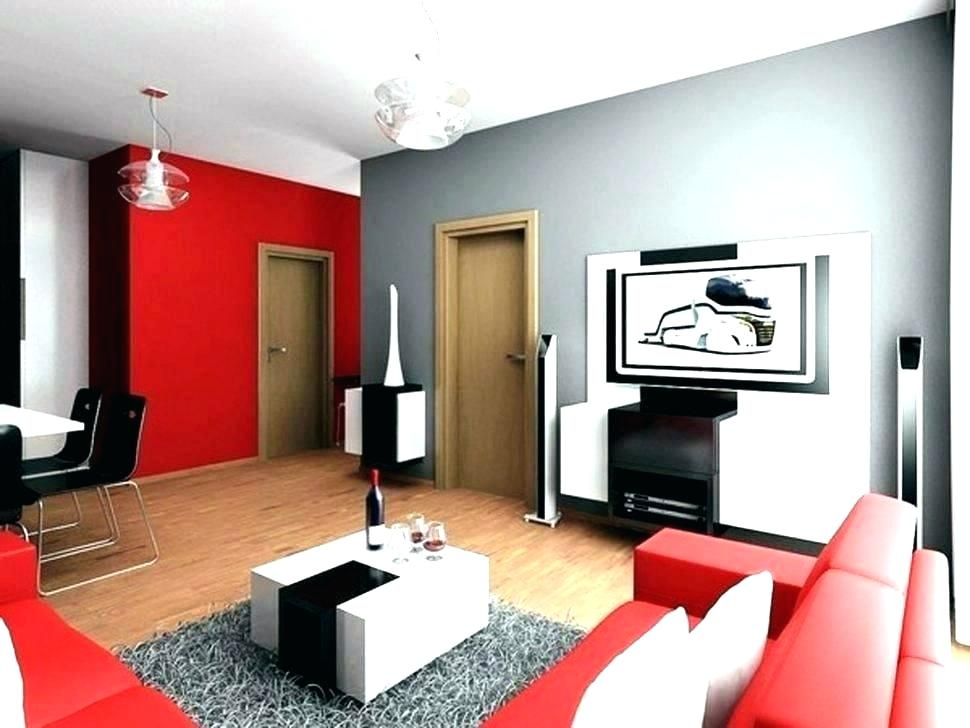 Red color in the interior of the living room