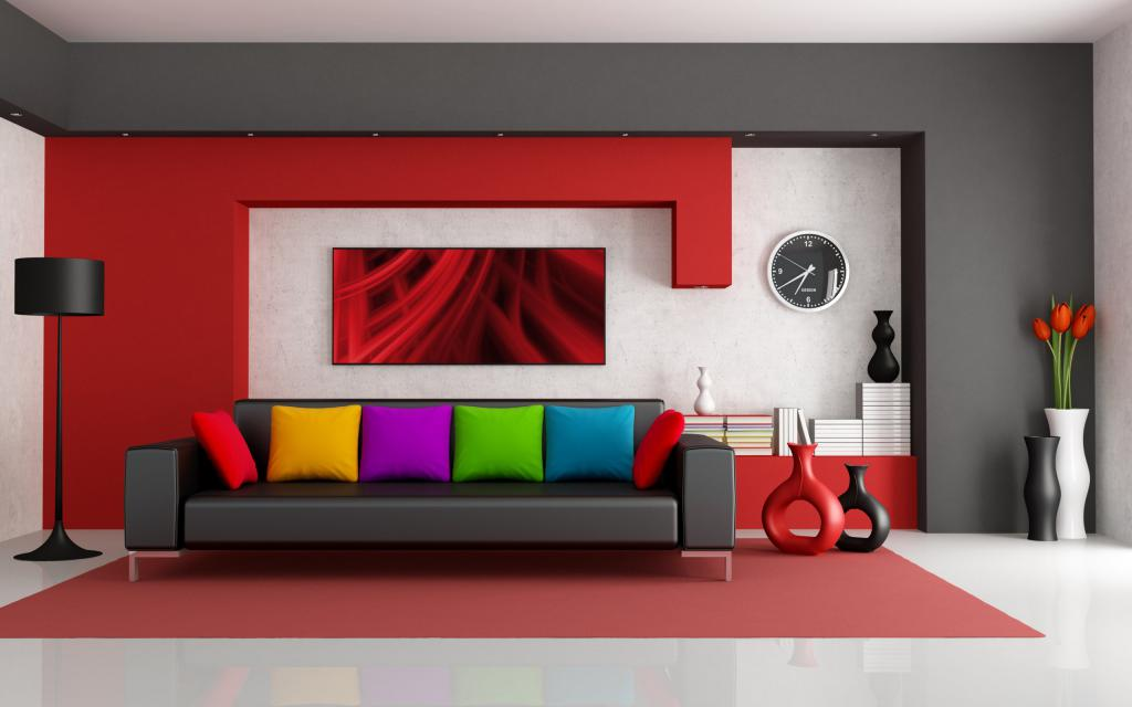 Interior in black and red