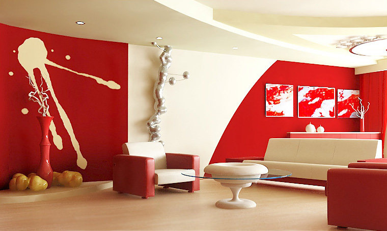Interior in red and white