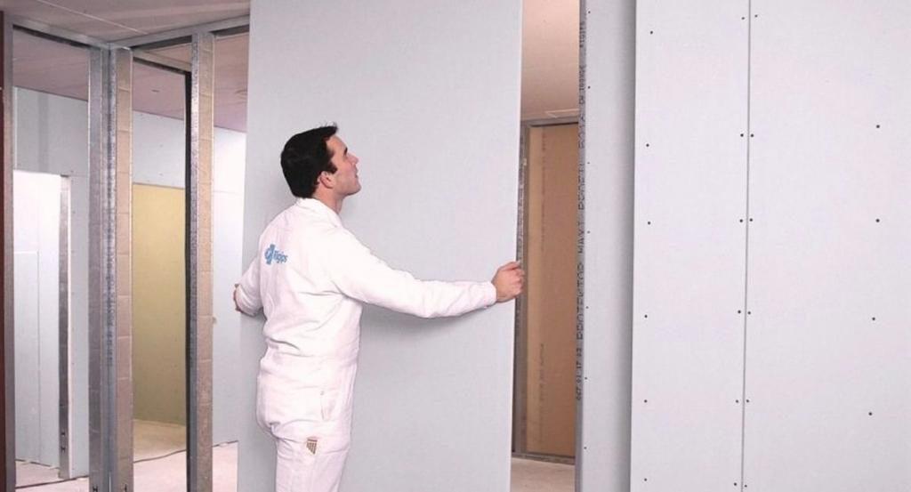 Plasterboard partition.