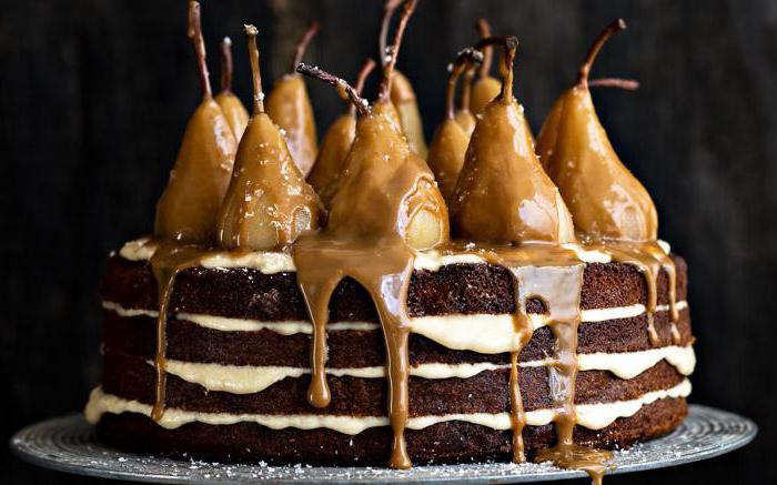 шоколадный пирог с карамелизированными грушами