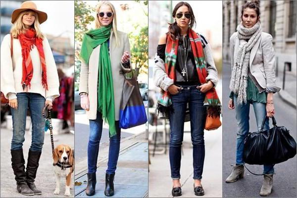 как красиво завязать шарф на куртке