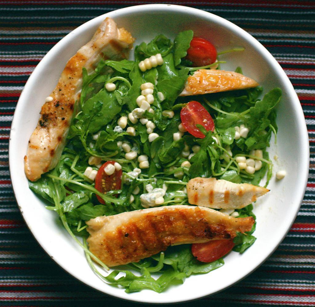 салат с рукколой грибами и курицей