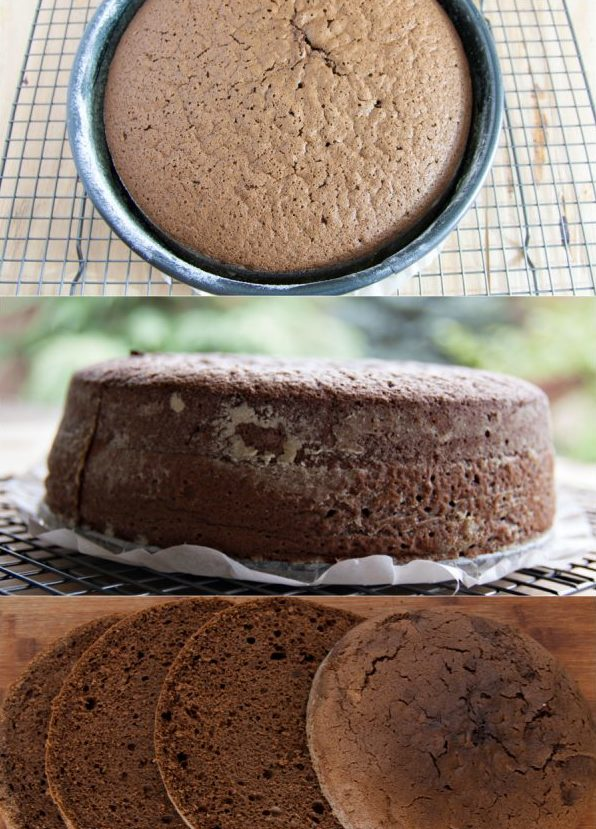 Baking a biscuit and cutting cake