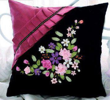 вышивка лентами тюльпаны