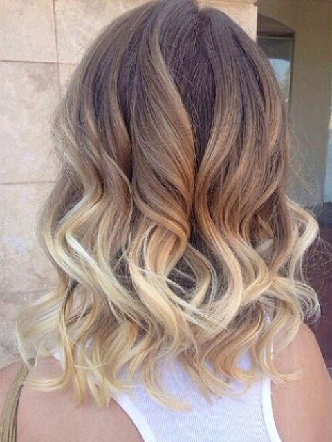 омбре на темно-русые волосы средней длины фото