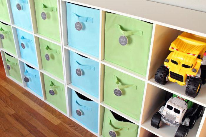 Стеллаж для игрушек с ящиками