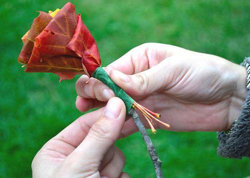 цветы из листьев деревьев пошагово