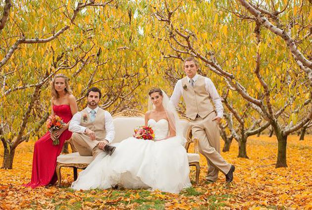 Красивая свадебная фотосессия осенью: идеи и позы