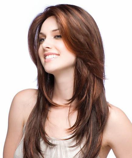 Фото каскад на длинные волосы прямые без челки