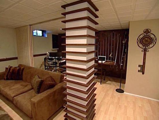 декорирование колонны в интерьере