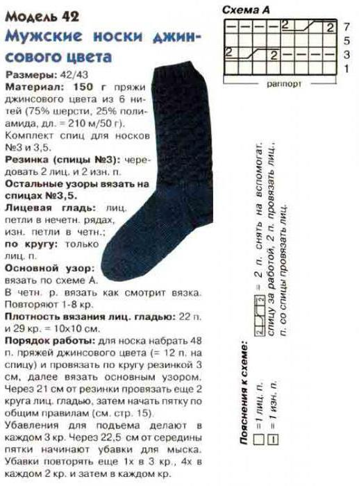вязание мужских носков