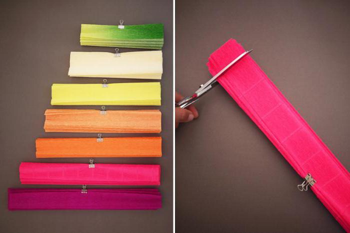 как сделать цветы из крепированной цветной бумаги