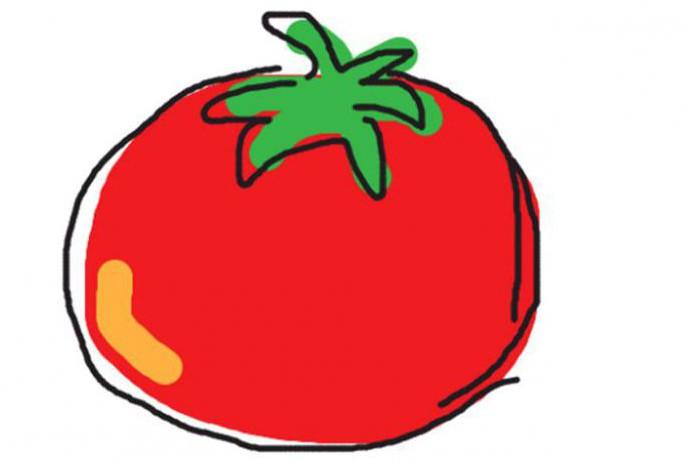 как нарисовать помидор акварелью