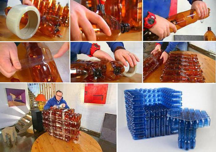 Как сделать кресло из бутылок своими руками