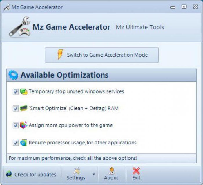 Программы игр для ускорение пк