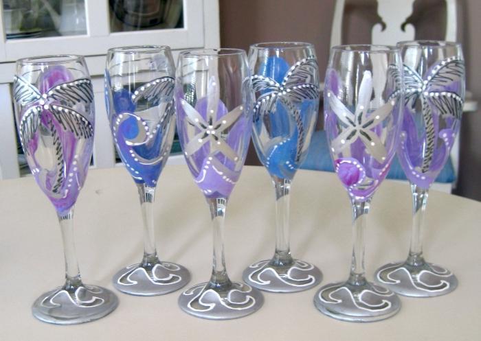 Как сделать свадебный бокалы своими руками