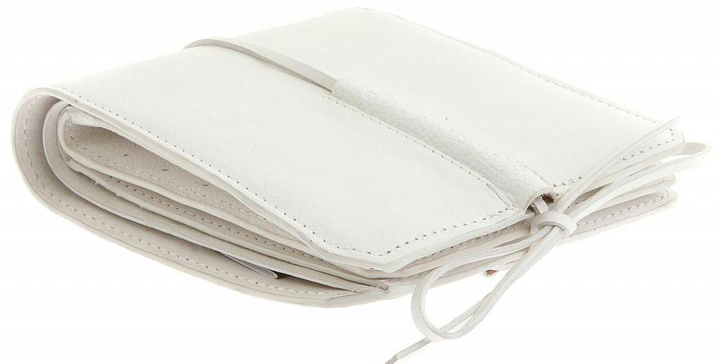 white leather wallet