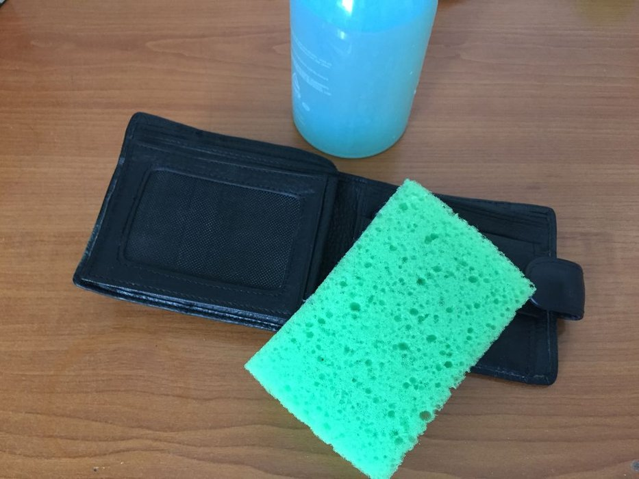 Wet Leather Wallet Cleaning