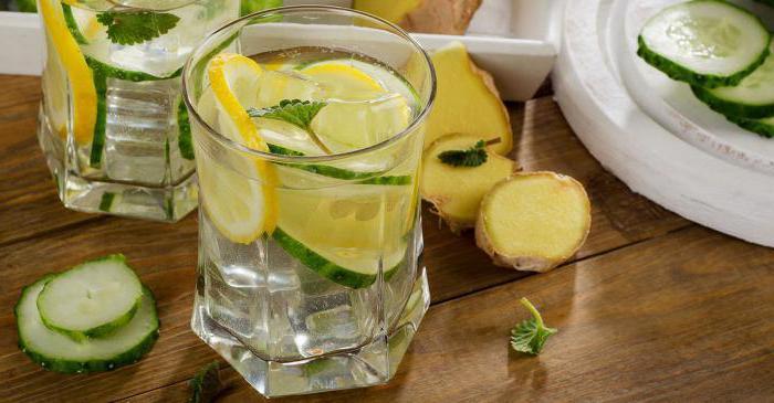 напиток из имбиря лимона огурца и мяты