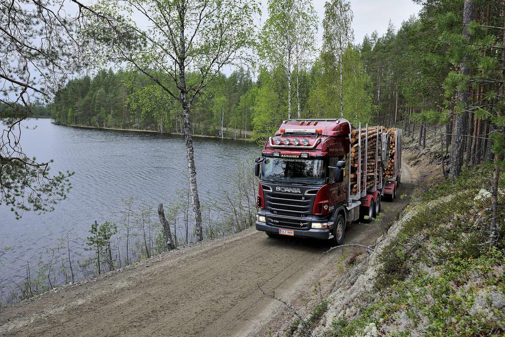 Лесовоз в дороге