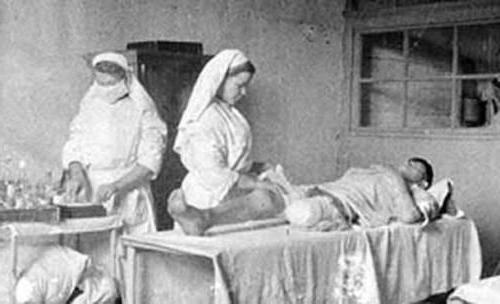 Советские госпитали во время Великой Отечественной войны: http://fb.ru/article/215757/sovetskie-gospitali-vo-vremya-velikoy-otechestvennoy-voynyi