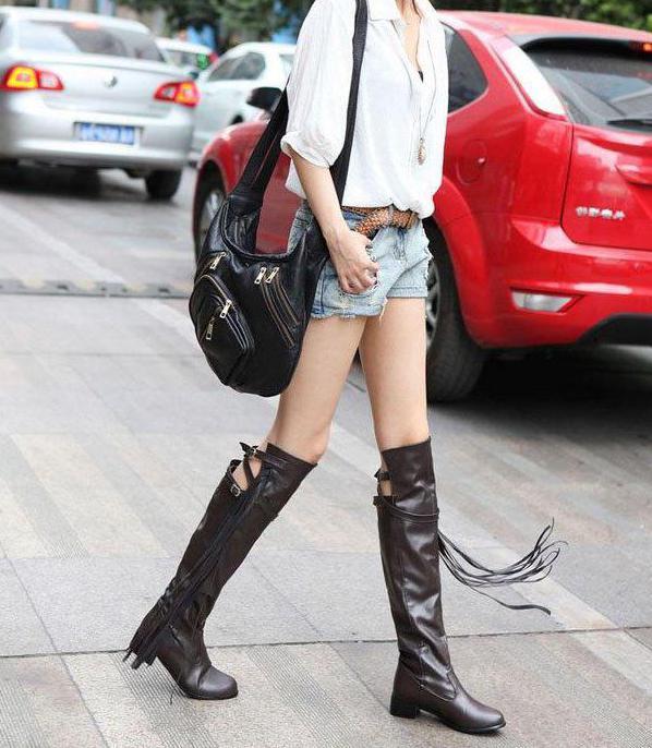 С чем носить ботфорты с каблуком (фото)?