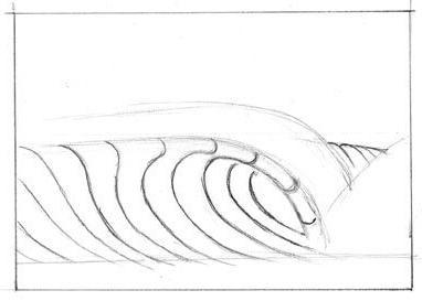как нарисовать морские волны